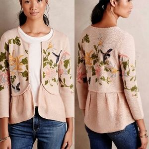 Rare Anthropologie Sweater with Flowers and Birds